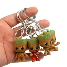 Cute Set Mini Tree man Guardians Galaxy Keychain Pendant Toys Baby Treeman Mini Action Figure Toys Grootted Car Key Chains Toys(China)