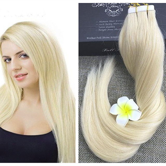 Full Shine Blonde Tape In Human Hair Extensions Seamless Tape Hair