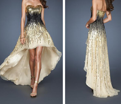 LF 18591 Sweetheart Short Front Long Back Sparkle Gold and