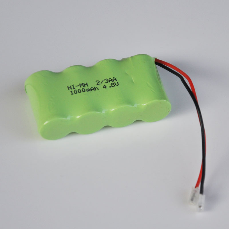 2pcs 4.8V rechargeable 2/3AA battery pack 1000mah 2/3 AA ni-mh nimh cell for RC toys cordless phone
