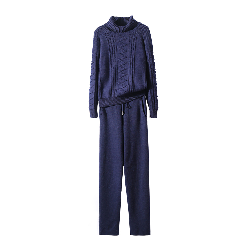 8a9c0e9f960c41 [0] Women's New Arrival Wool Bamboo Fiber Knit Set 2018 New Cashmere  Fashion Turtleneck Long Sleeve Sweater + Pants Two piece Women -in Women's  Sets from ...
