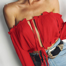 2017 Brandwen Long sleeve chiffon blouse shirt women tops Boho off shoulder crop top red Summer beach blouse chemise tube blusa