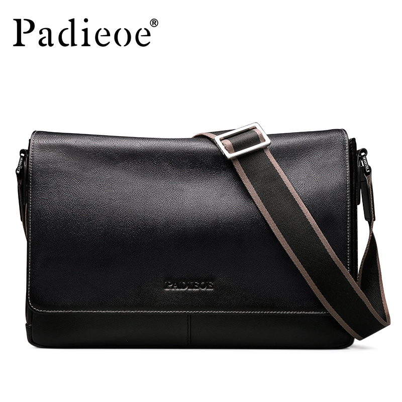 Padieoe Brand Genuine Leather Shoulder Bags Men Messenger Bag Casual Business Briefcase Crossbody Bag Men's Handbag Free Ship padieoe men s genuine leather briefcase famous brand business cowhide leather men messenger bag casual handbags shoulder bags