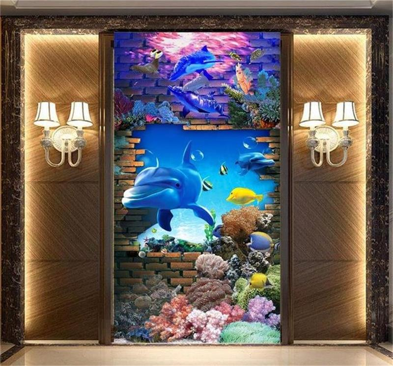 3d photo wallpaper living room bed room mural sea world dolphin 3d photo painting sofa TV background wall non-woven wall sticker free shipping penguin dolphin 3d sea world flooring painting kitchen lobby restaurant floor wallpaper mural