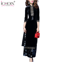 Fashion Ladies Suits High Quality Elegant 2 Pieces Sets 2018 Women Velvet Floral Dress Print Dresses