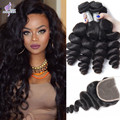 Mink 7A Peruvian Virgin Hair Loose Wave With Closure Peruvian Loose Wave Curly Hair Weave 4 Bundles With Closure Ali Moda Hair