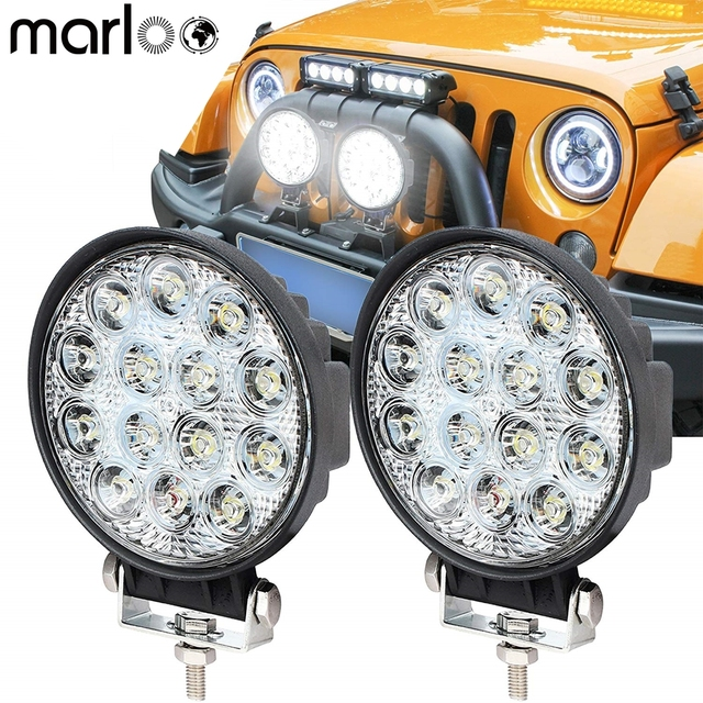 "Marloo 4.5"" 42W 12V 24V Round LED Off Road Lights Spot Fog Work Lights For Jeep OffRoad UTV Car Motrocycle 4x4 ATV Trucks Boat"