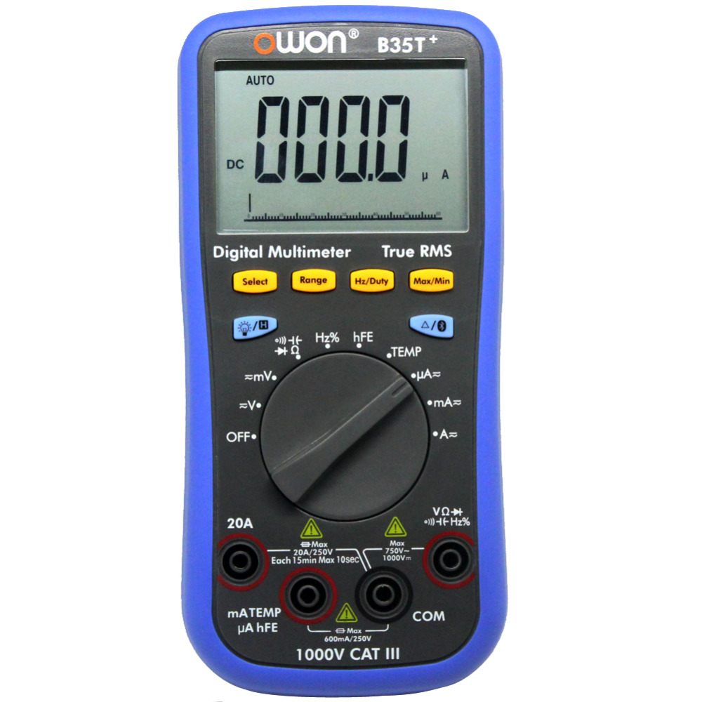 OWON B35T+ 3 in 1 datalogger true RMS multimeter temperature tester recording Bluetooth 4.0 Android