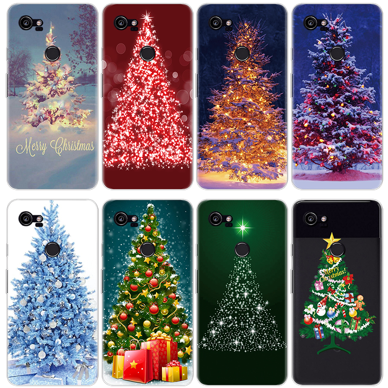 Christmas Tree Patterned Case For Fundas Google Pixel 2 XL Case TPU Back Cover Transparent For Google Pixel Case Cover Coque