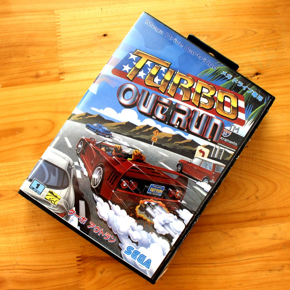 Turbo Out Run 16 Bit MD font b Game b font Card with Retail Box for