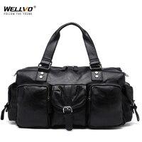 Wellvo Fashion Pu Leather Tote Men's Travel Duffle Bag Multifunctional Handle Bag Shoulder Messenger for short trip XA145WC
