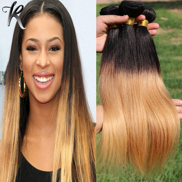 3pcs Straight Malaysian Virgin Hair Blonde Ombre Hair Extensions Two