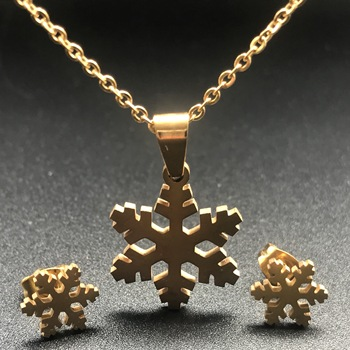 Stainless Steel Necklace For Women Gold Color Elephant snowflake Pendant Necklace