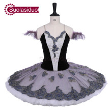 Women Black Professional Stage Ballet Tutu Costumes Adult Classical Pancake Fairy Performance Competition Apperal Girls
