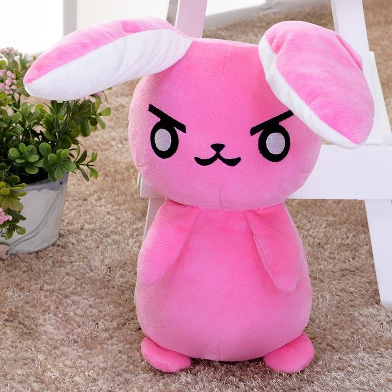 50cm Cute OW DVA Cosplay Watch Pink Rabbit Plush Stuffed Doll Toy Kawaii Cartoon Soft Plush Toys Children Gift super cute 1pc 33cm cartoon molang christmas wapiti rabbit bunny soft plush doll stuffed toy children valentine s day gift