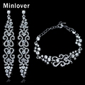 Minlover New Design Crystal Silver Plated Bridal Long Earrings and Bracelets for Women Wedding Jewelry Set EH193+SL023