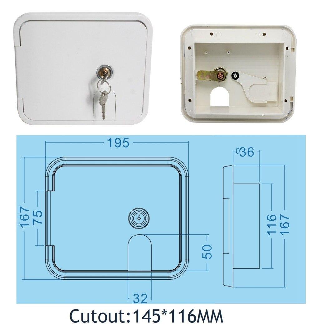 Premintehdw Flush Side Mount Plastic RV Camper Trailer Compartment Storage Door external power supply
