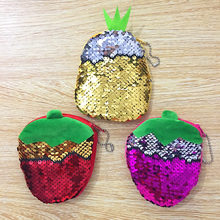 Sequins P Double Side Pineapple And Strawberry Plush Coin Purse Children Zipper Change Lady Wallet Pouch Bag