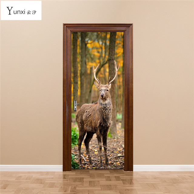 YunXi New 3D Door Stickers Forest Animal Deer Stickers Bedroom Living Room Background Decoration Waterproof Pvc & YunXi New 3D Door Stickers Forest Animal Deer Stickers Bedroom ...
