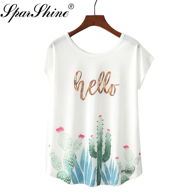f46dc5264 2018 Summer T Shirt Cute Style Printed HELLO Cactus round neck T-shirt New  Short Sleeve Women Tops Size M L XL