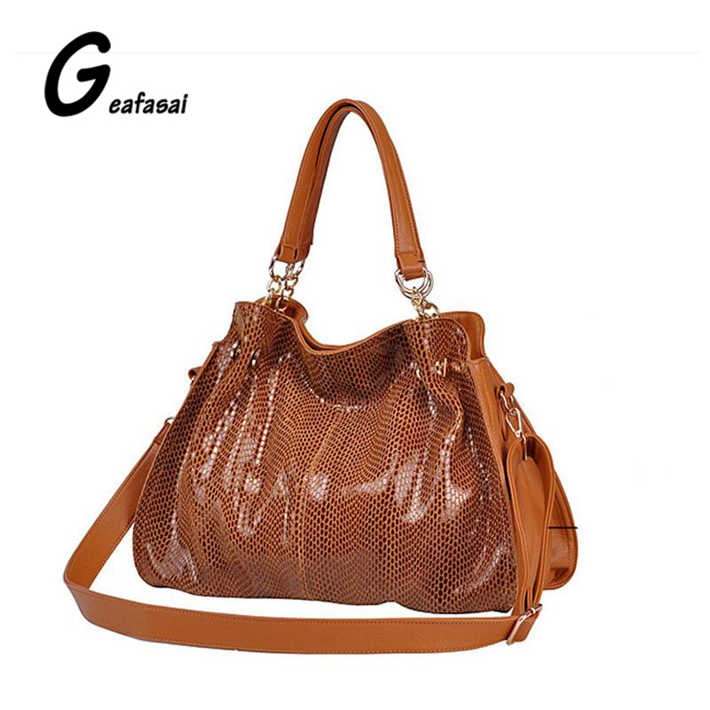 ladies Snakeskin serpentine style PU hobos handbags shoulder bags for women lady