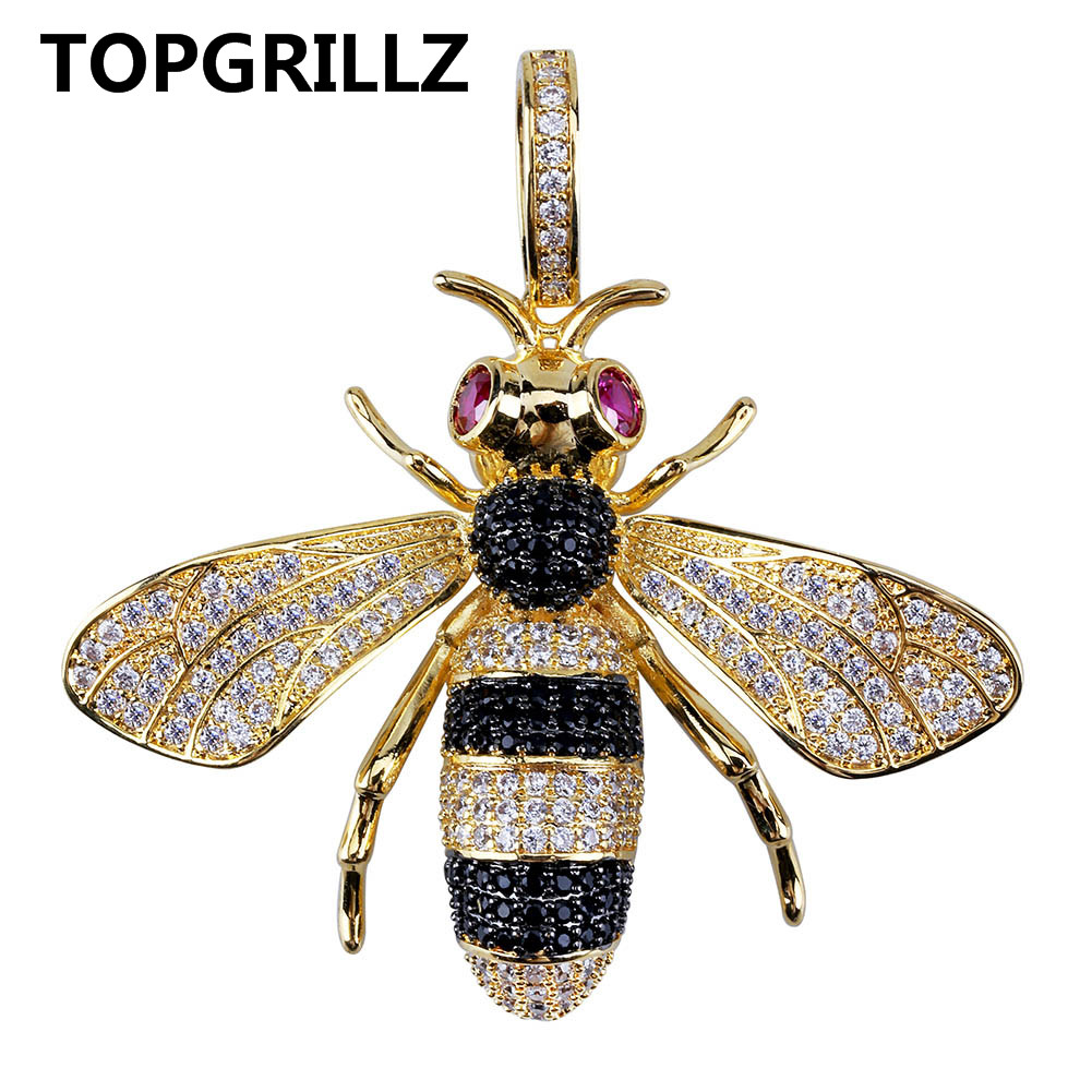 TOPGRILLZ Gold Silver Color Iced Out Cubic Zircon Animal Bee Pendant Necklace Men's Women Hip Hop Jewelry Gifts jinao hip hop fashion 69 saw necklace cubic zircon gold silver saw horror movie theme digit number pendant necklace iced out