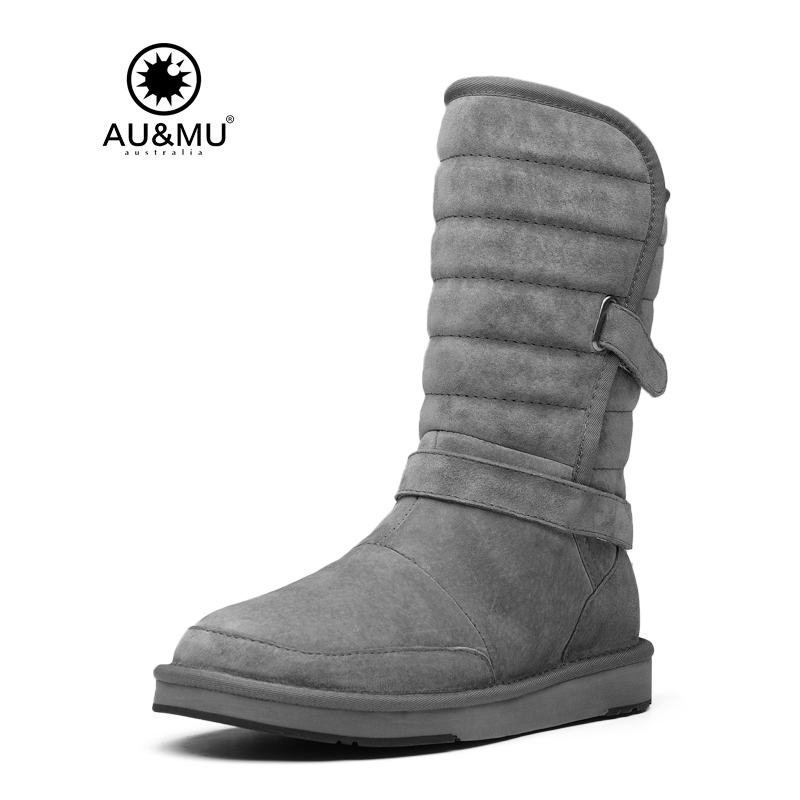 2018 AUMU Australia Flat Suede Elastic Strap Round Toe Rubber Soles Coldweather Snow Winter Boots N384 2017 aumu australia comfort suede fur mid calf flat lace up round toe winter snow boots ug n728