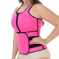 Sexywg Plus Size Waist Trainer Neoprene Sauna Sweating Vest Tank Top Velco Magic Sticker Belly Trimmer