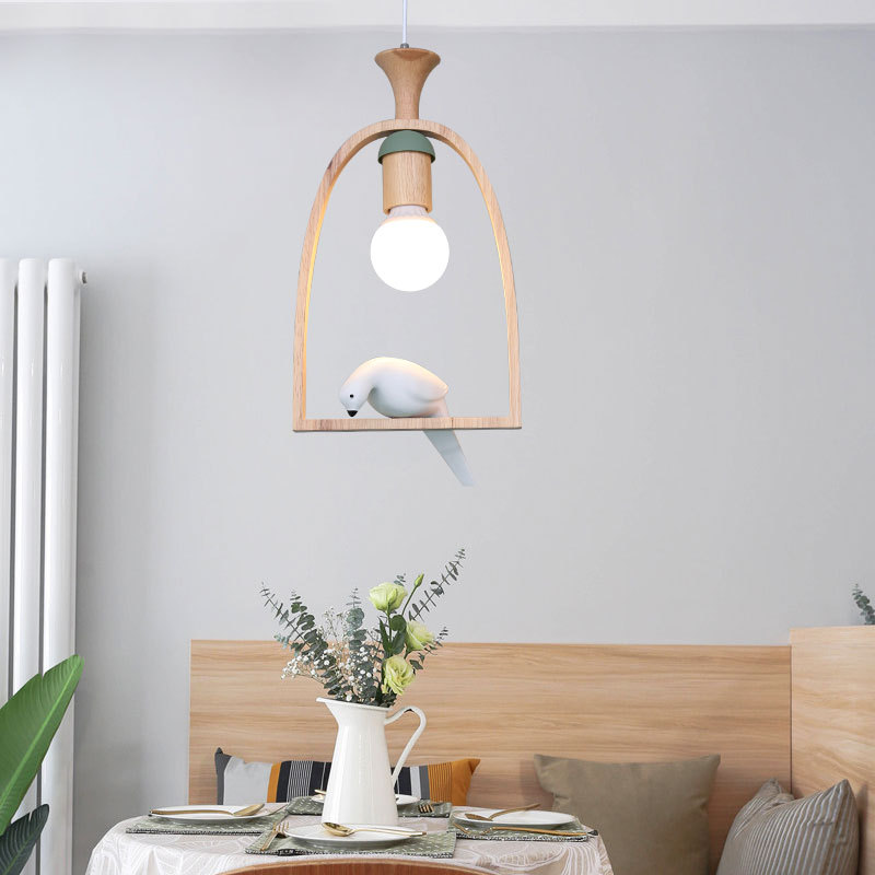 Nordic Bird restaurant pendant lights creative solid log hall lamp cloakroom led lamp balcony wood led pendant lamp LU807141 solid wooden restaurant lamp pendant lights wood nordic new rectangular bar led solid wood office pendant lamps mz141