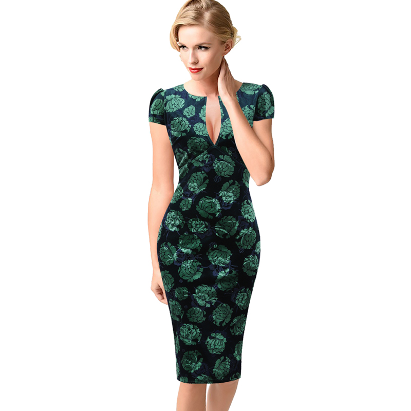 Vfemage Womens Sexy Elegant Autumn Floral Flower Lace Vintage Tunic Slim Casual Party Fitted Sheath Pencil Bodycon Dress 1040
