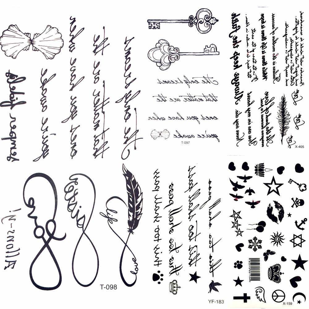 25 desgin fresco infinito carta sin fin watertransfer tatuaje Mujeres Partido tatoo Cuerpo brazo mano clave temporal tatuaje pegatina hombres pierna