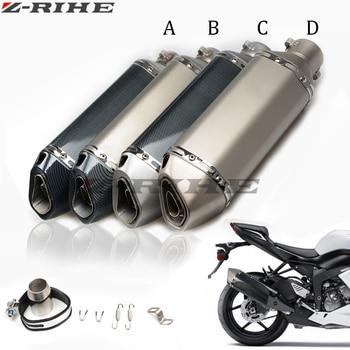 36-51mm Universal Motorcycle carbon fiber exhaust Muffler pipe For Suzuki GSX R 600 GSX R 750 GSF 650 GSF 600 SV 650 SV 1000 S