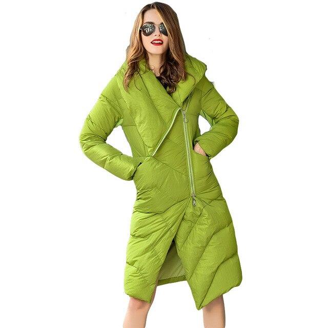 ESTILO 2016 de Inverno 100% de Pato Branco Para Baixo Mulheres Casaco Parkas Moda Espessamento Longa Jaqueta Outwear Roupas Quentes Do Sexo Feminino