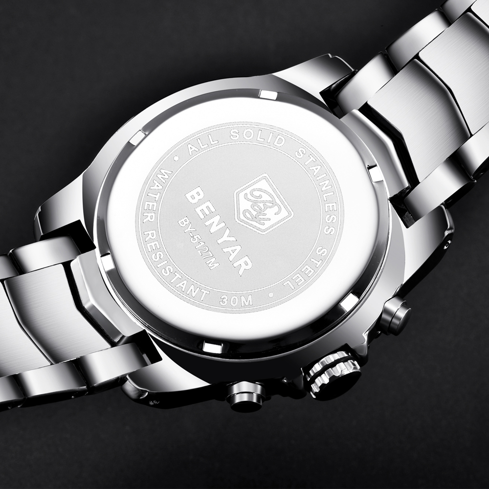 Top Brand Luxury BENYAR Stainless Steel Vattentät Chronograph Sport - Herrklockor - Foto 6