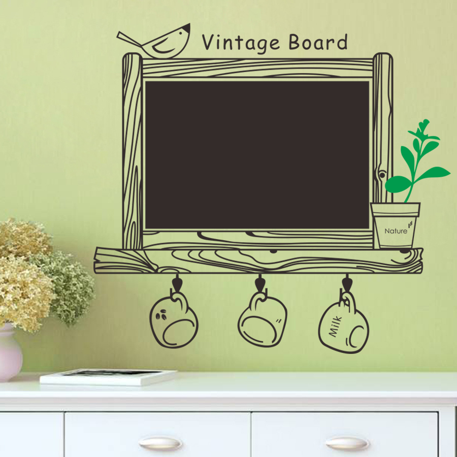 Chalkboard With Light Green Plants Vinyl Wall Sticker Removable ...