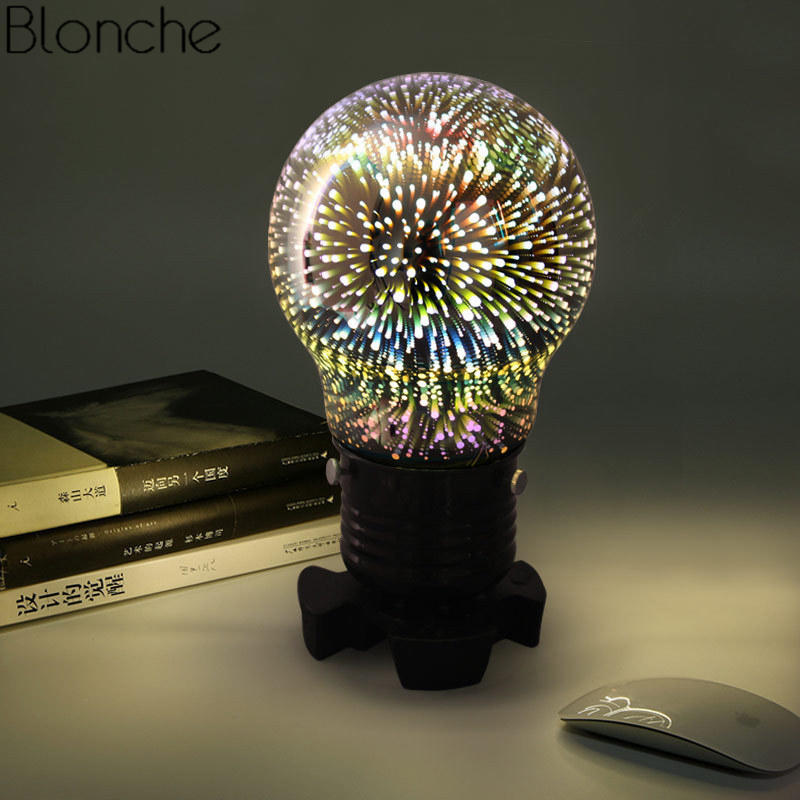 Colorful 3D Table Lamp Creative Glass Led Desk Light for Bedroom Bedside Lamp Night Lighting Fixtures Christmas Industrial Decor odeon light потолочный светильник odeon light pillaron 3565 2c