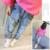2017 edição han nova primavera bebê jeans menina cowboy buraco crianças pés calças compridas calças frete grátis