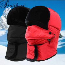 Winter fur bomber hats Windproof Thick warm protect neck sno