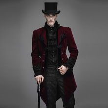 Punk Spring Autumn Men's Swallow-tail Jacket Black Red Mens Soft Coats Slim Fit Gothic Outwear Jackets With Zipper Plus Size
