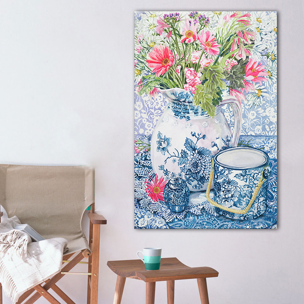 Canvas art print poster blue and white porcelain flowers still canvas art print poster blue and white porcelain flowers still life oil painting wall picture for living room no framed mightylinksfo