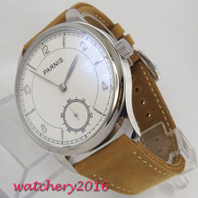 44mm Parnis White dial polished Bezel Top Brand Luxury Newest Hot Fashion Mechancial Hand Wind 6498 movement Men Watch все цены