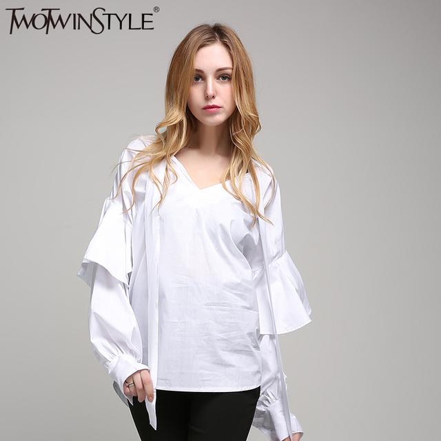 [TWOTWINSTYLE] 2017 Kimono Top Striped Women's Shirts Summer Blouse Ruffles Long Sleeve New Female Big Size Clothing