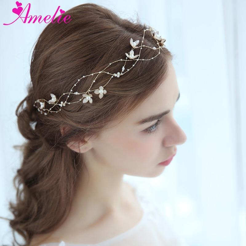 Baby Shower Headbands Pearl Charm Centered Floral Bridal Hair Vine