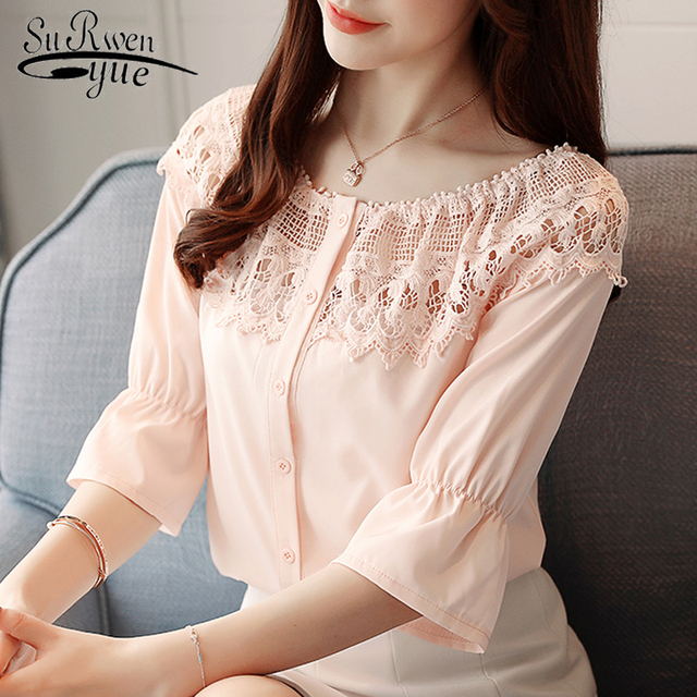2018 fashion women shirt blouse half sleeve hollow out women's clothing summer sexy slash neck chiffon women tops blusas D651 30