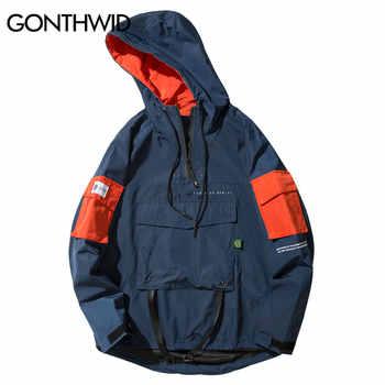 GONTHWID Front Pocket Pullover Jackets Men 2019 Autumn Half Zipper Hoodie Jacket Male Hip Hop Casual Windbreaker Coat Streetwear - DISCOUNT ITEM  48 OFF Men\'s Clothing