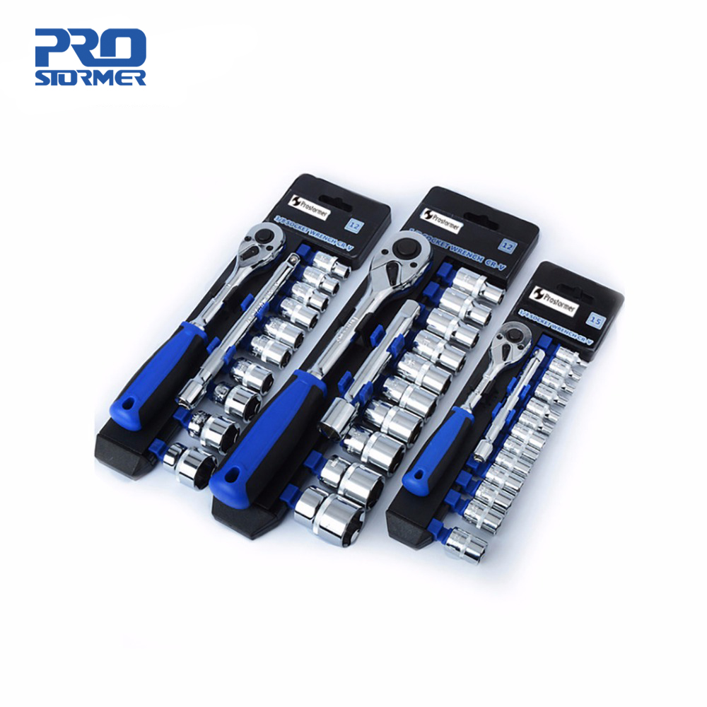 PROSTORMER 1/2 3/8 1/4 Ratchet Wrench Non slip Wrench Socket kit CR V  Professional Repair Hand Tool set Car Bycicle Tools-in Wrench from Tools