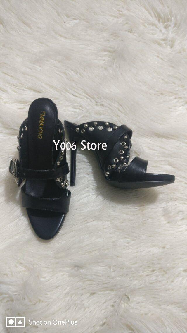 Femme Chaussures Rivet Boucle Parti Noir Black Piste Sandalias Clouté D'été Femmes Nouvelles Slingback Hauts Sandales Talons À Mujer Métal nqTH144xw