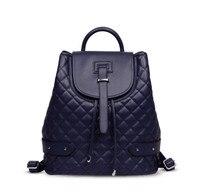 2018 мода овчины Натуральная кожа плед Рюкзак Большой одноцветное школьная сумка