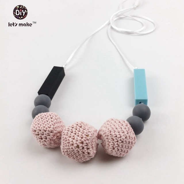 Silicone Baby Teether Crocheted Beads Food Grade Mama Gift Modern Necklace Hex/geometric Grace Silicone TeethingNursing Necklace