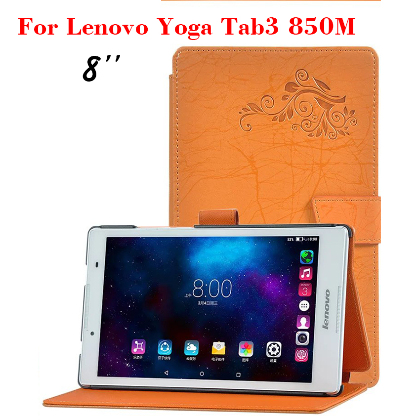 For Lenovo TAB 3 8 Flower Print Flip PU Leather Case TB3-850M/TB3-850F Slim Smart 8 inch Tablet Case Cover Protective Stand Skin slim fit stand feature folio flip pu hybrid print case for lenovo tab 3 730f 730m 730x 7 inch
